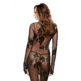 Tease Floral Lace Gown with G-String Black