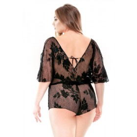 Curve Stretch Lace Romper Adjustable Waist & Snap Closure 3X/4X