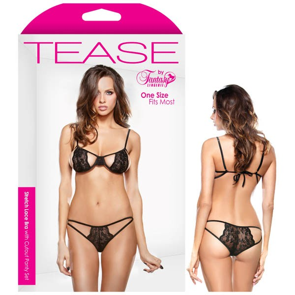 Tease Stretch Lace Bra with Cutout Panty Set Black