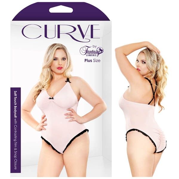Curve Soft Touch Bodysuit with Contrasting Trim & Snap Closure 3X/4X