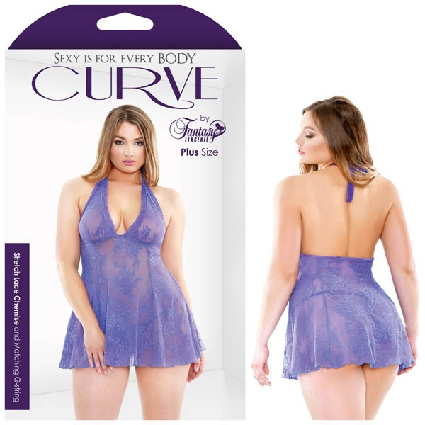 CURVE STRETCH LACE CHEMISE & MATCHING G-STRING
