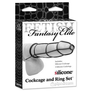ELITE COCKCAGE AND RING SET - BLACK