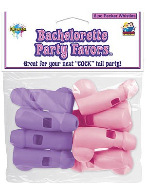 Bachelorette Party Pecker Whistles - Pink/Purple