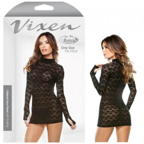 Vixen Collared Lace Dress with G-String Black One Size