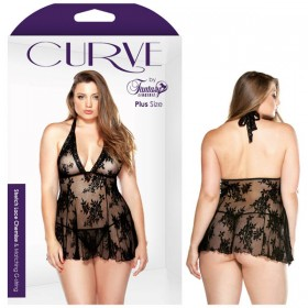 Curve Stretch Lace Chemise and Matching G-String 3X/4X