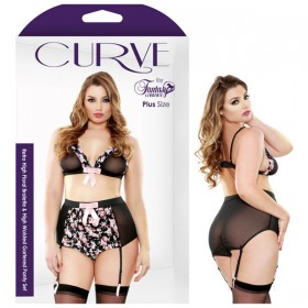 Curve Retro High Floral Bralette & High Waisted Gartered Panty Set 3X/4X
