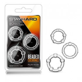 Stay Hard Beaded Cockrings Clear Cock Rings - Set of 3 Sizes