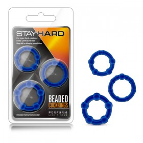 Stay Hard Beaded Cockrings Blue Cock Rings - Set of 3 Sizes