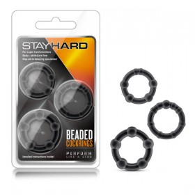 Stay Hard Beaded Cockrings Black Cock Rings - Set of 3 Sizes