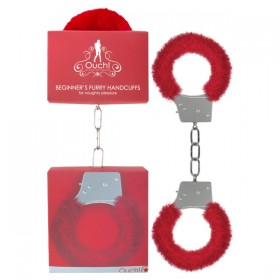 Ouch Beginner's Furry Handcuffs Red