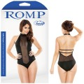 Romp Halter Romper with Sheer Centre Mesh Panel & Snap Close M/L